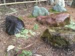 森の中で展示庭園を作っています。鞍馬石の景石です。