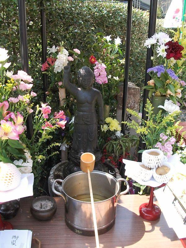 花御堂で誕生佛を飾り、その前に灌仏桶に甘茶を満たし 柄杓で甘茶をかけて... 探検隊長が行く 京